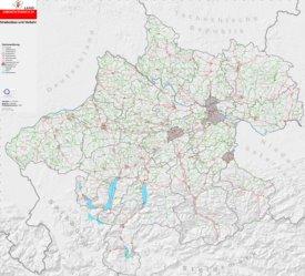 Straßenkarte von Oberösterreich