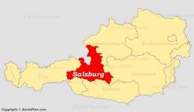 Land Salzburg auf der Österreich Karte