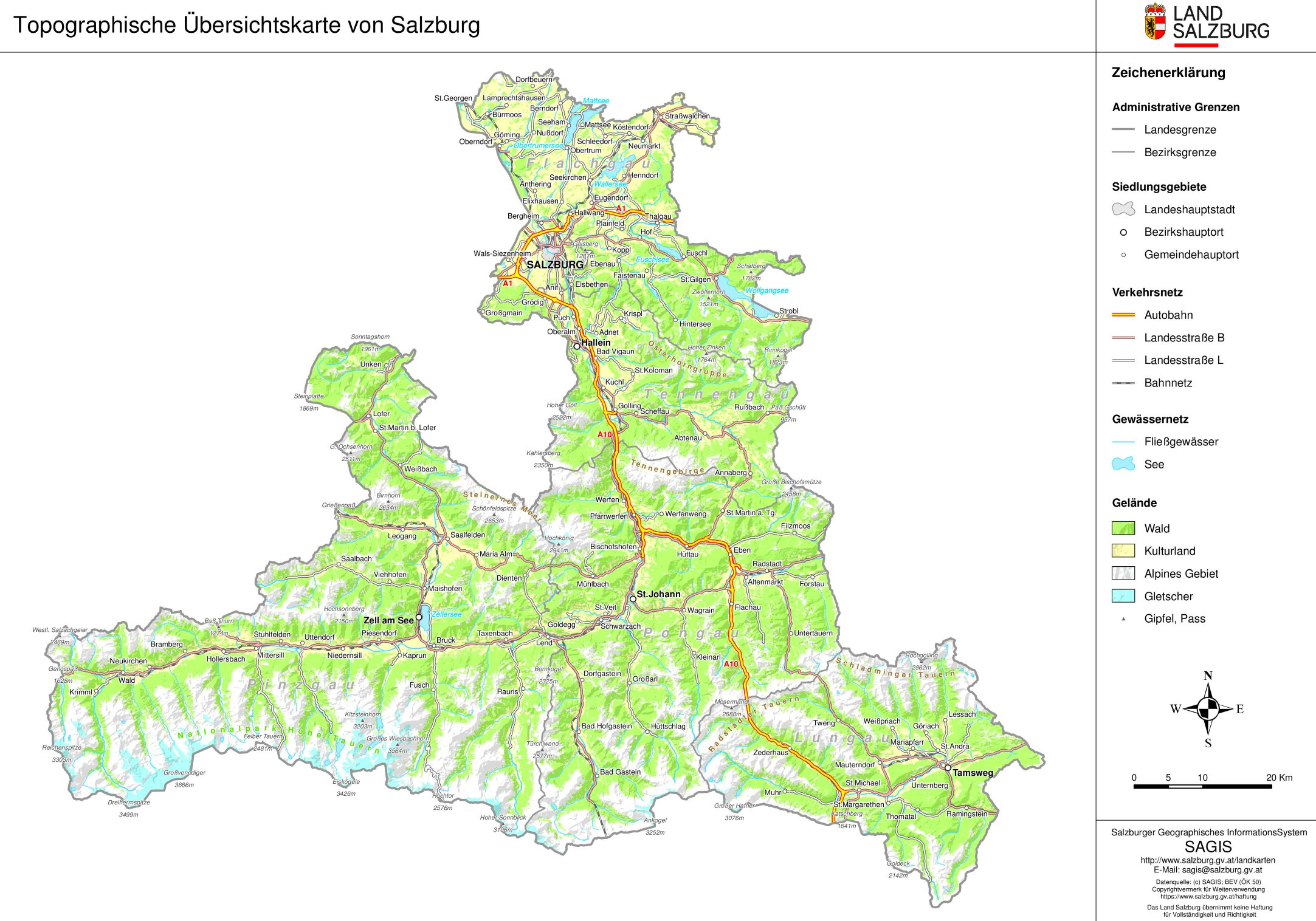 Topographische Ubersichtskarte Von Land Salzburg