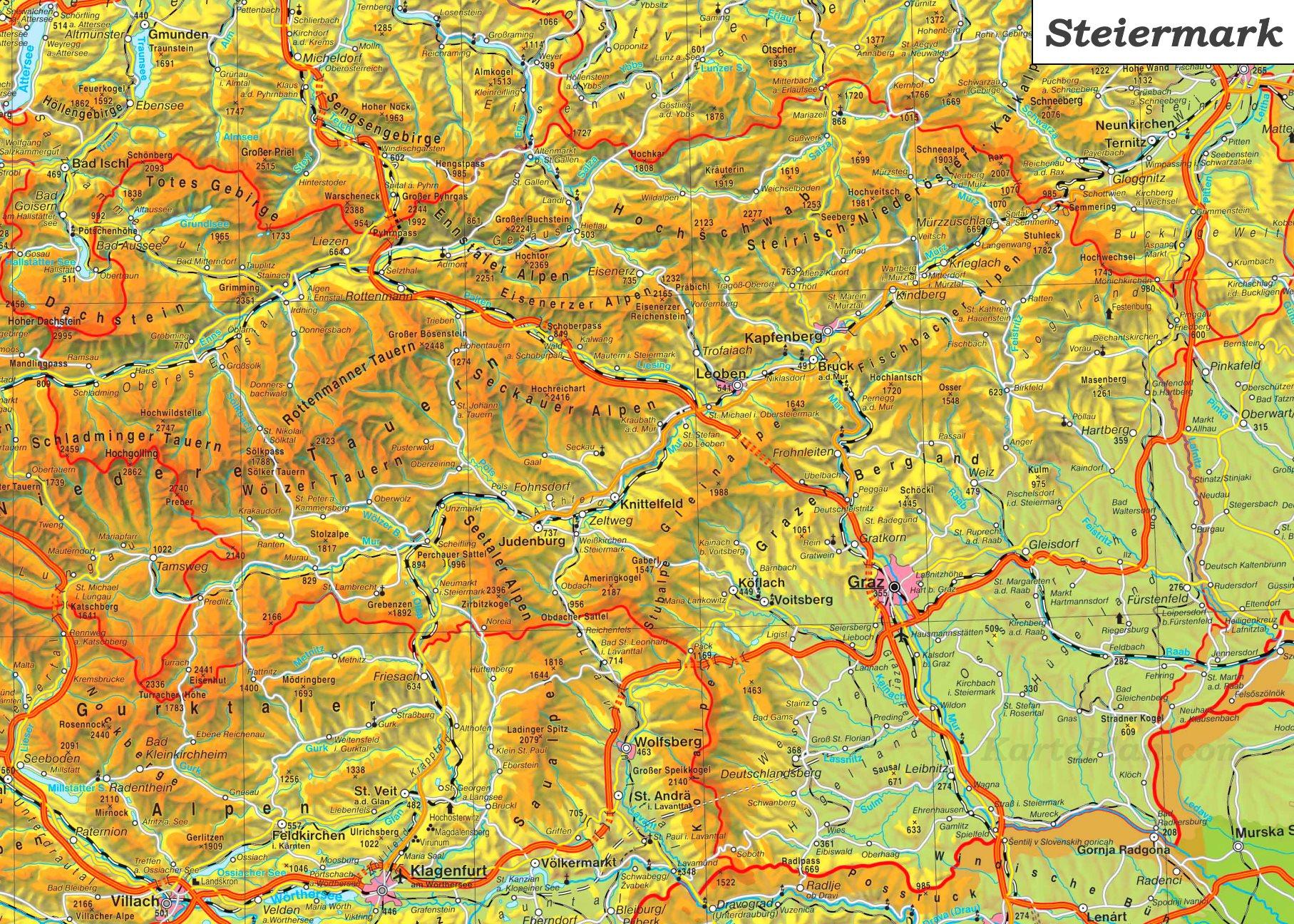 Steiermark Karte Flüsse.Detaillierte Karte Von Steiermark