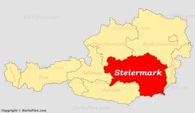 Steiermark auf der Österreich Karte