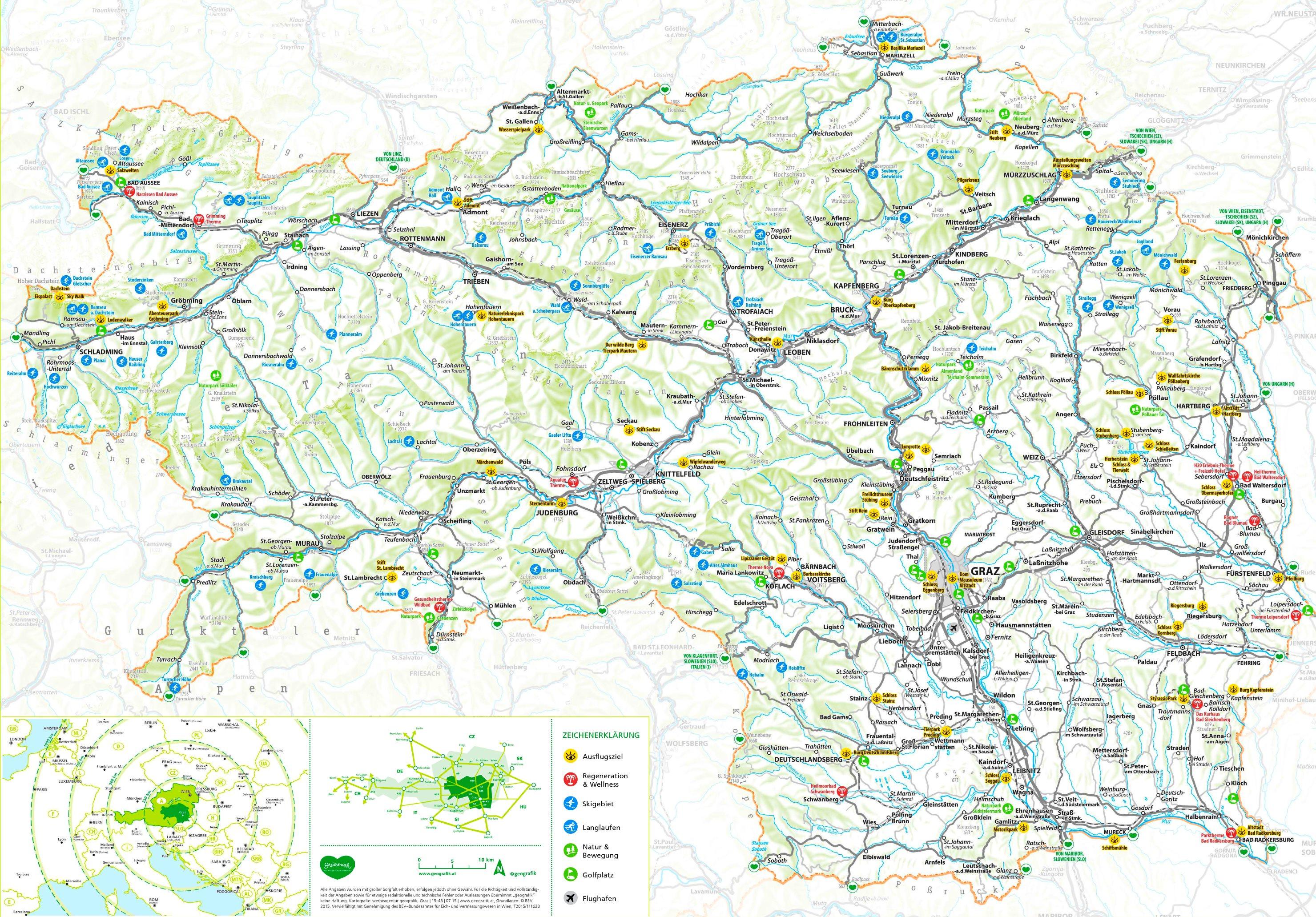 Steiermark Karte Flüsse.Steiermark Touristische Karte