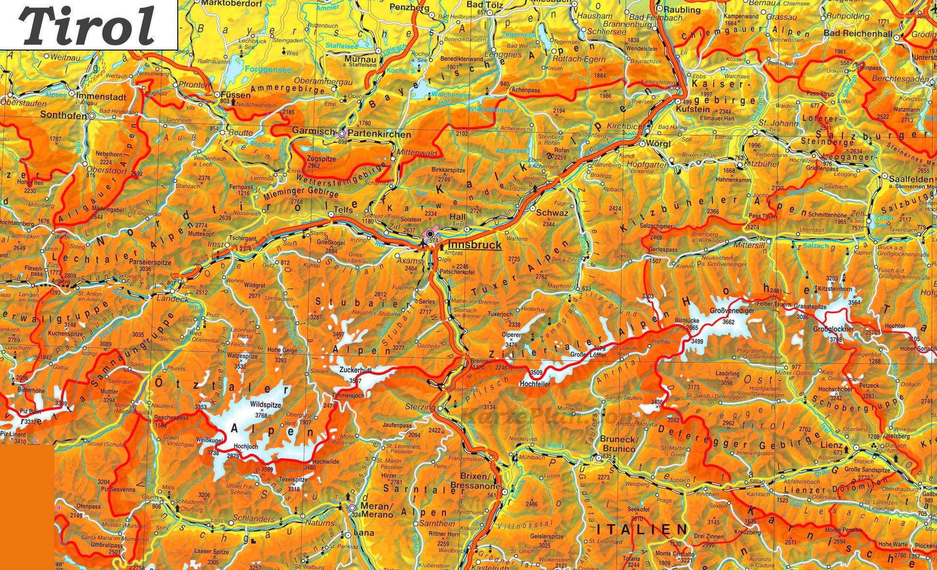 Karte Tirol.Detaillierte Karte Von Tirol