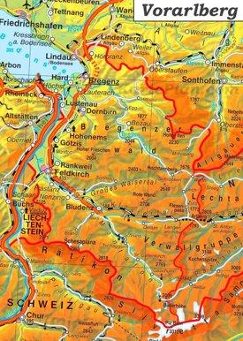 Detaillierte karte von Vorarlberg