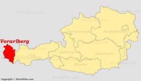 Vorarlberg auf der Österreich Karte