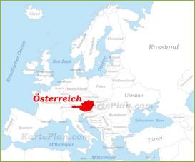 Österreich auf der karte Europas