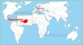 Österreich auf der Weltkarte
