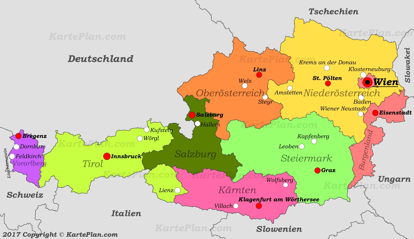 map of austria with cities Political Map Of Austria With Cities map of austria with cities