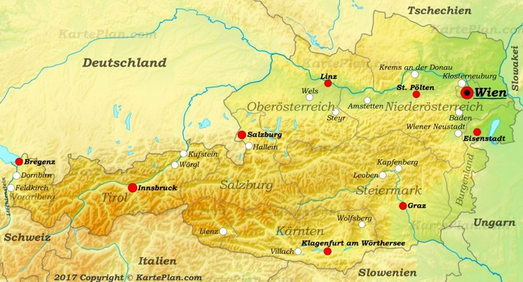 Reliefkarte von Österreich