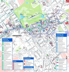 Stadtplan Eisenstadt mit hotels und restaurants