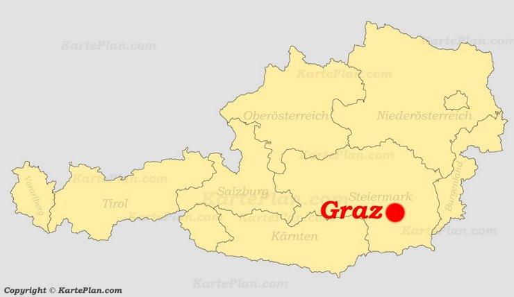 Graz auf der Österreich karte