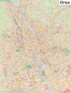 Große detaillierte stadtplan von Graz