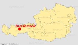 Innsbruck auf der Österreich karte