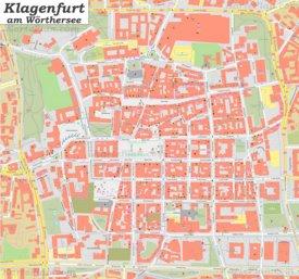 Karte von Klagenfurts Zentrum
