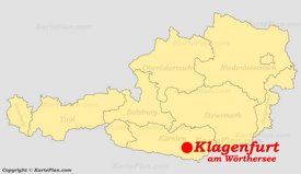 Klagenfurt auf der Österreich karte