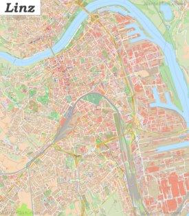 Große detaillierte stadtplan von Linz