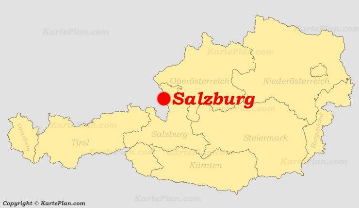 Salzburg auf der Österreich karte
