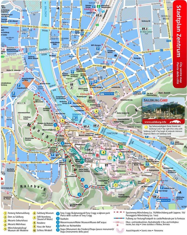 Touristischer innenstadtplan von Salzburg