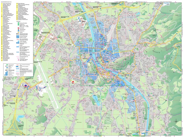 Touristischer stadtplan von Salzburg