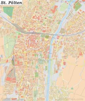 Große detaillierte stadtplan von St. Pölten