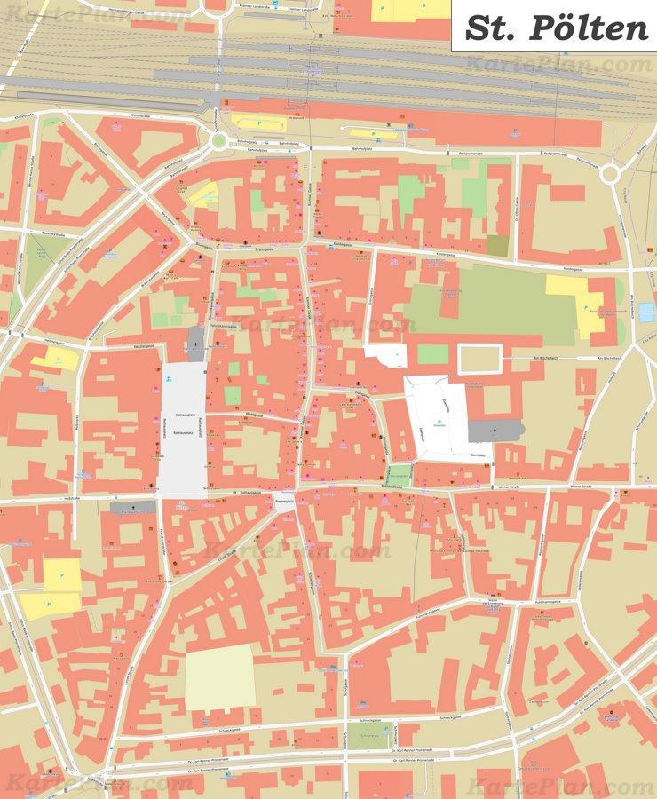 Karte von St. Pöltens Zentrum