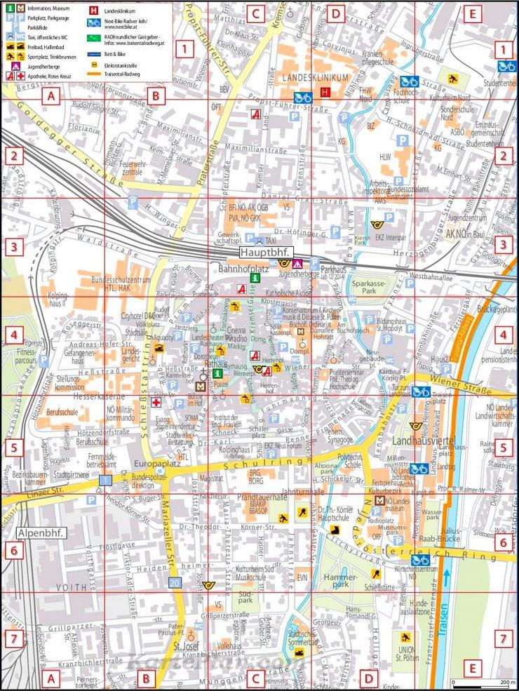 Touristischer stadtplan von St. Pölten