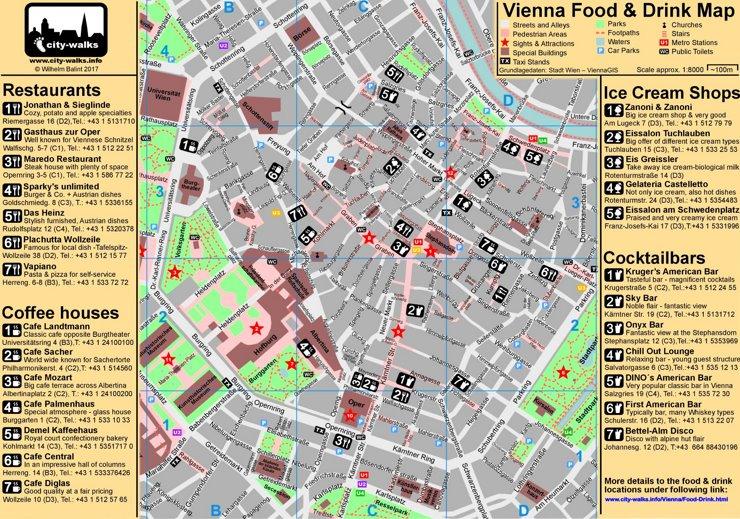 Stadtplan Wien mit restaurants