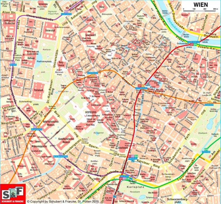Touristischer stadtplan von Wien