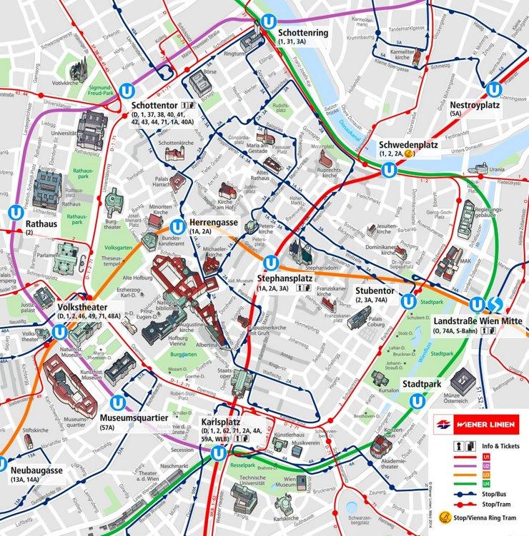 Wien Innenstadtplan mit sehenswürdigkeiten