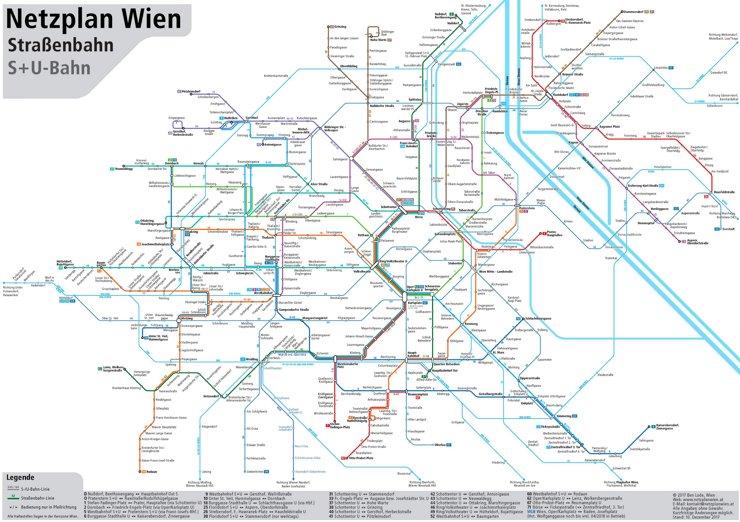 Wien Straßenbahn, S-Bahn und U-Bahn netzplan