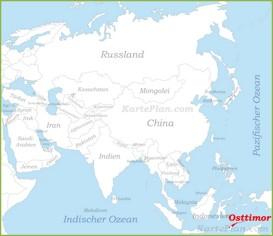 Osttimor auf der karte Asiens