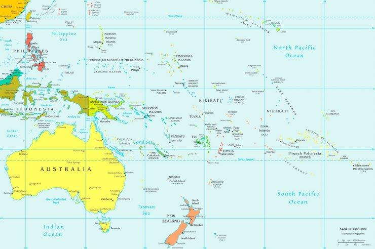 Ozeanien politische karte