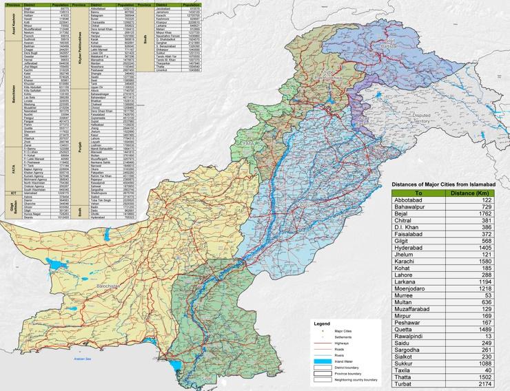 Große detaillierte karte von Pakistan