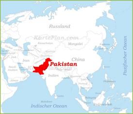 Pakistan auf der karte Asiens