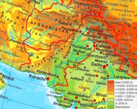 Physische landkarte von Pakistan