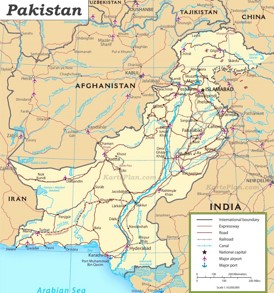 Straßenkarte von Pakistan