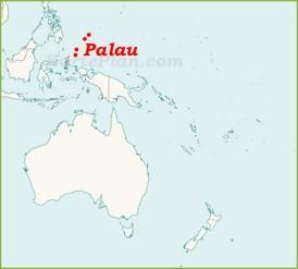 Palau auf der karte Ozeaniens