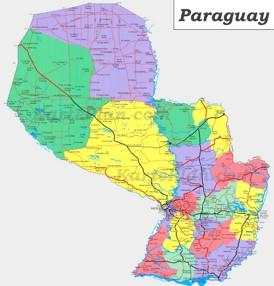 Große detaillierte karte von Paraguay