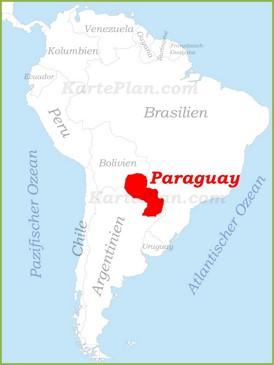 Paraguay auf der karte Südamerikas