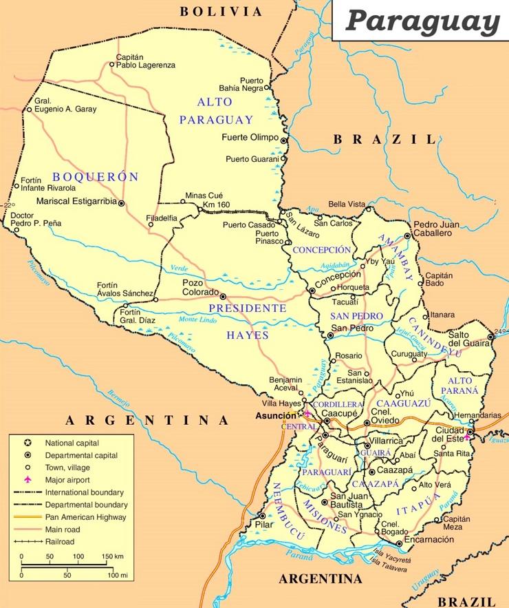 Paraguay politische karte
