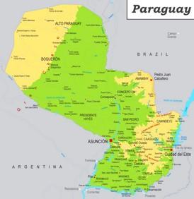 Physische landkarte von Paraguay