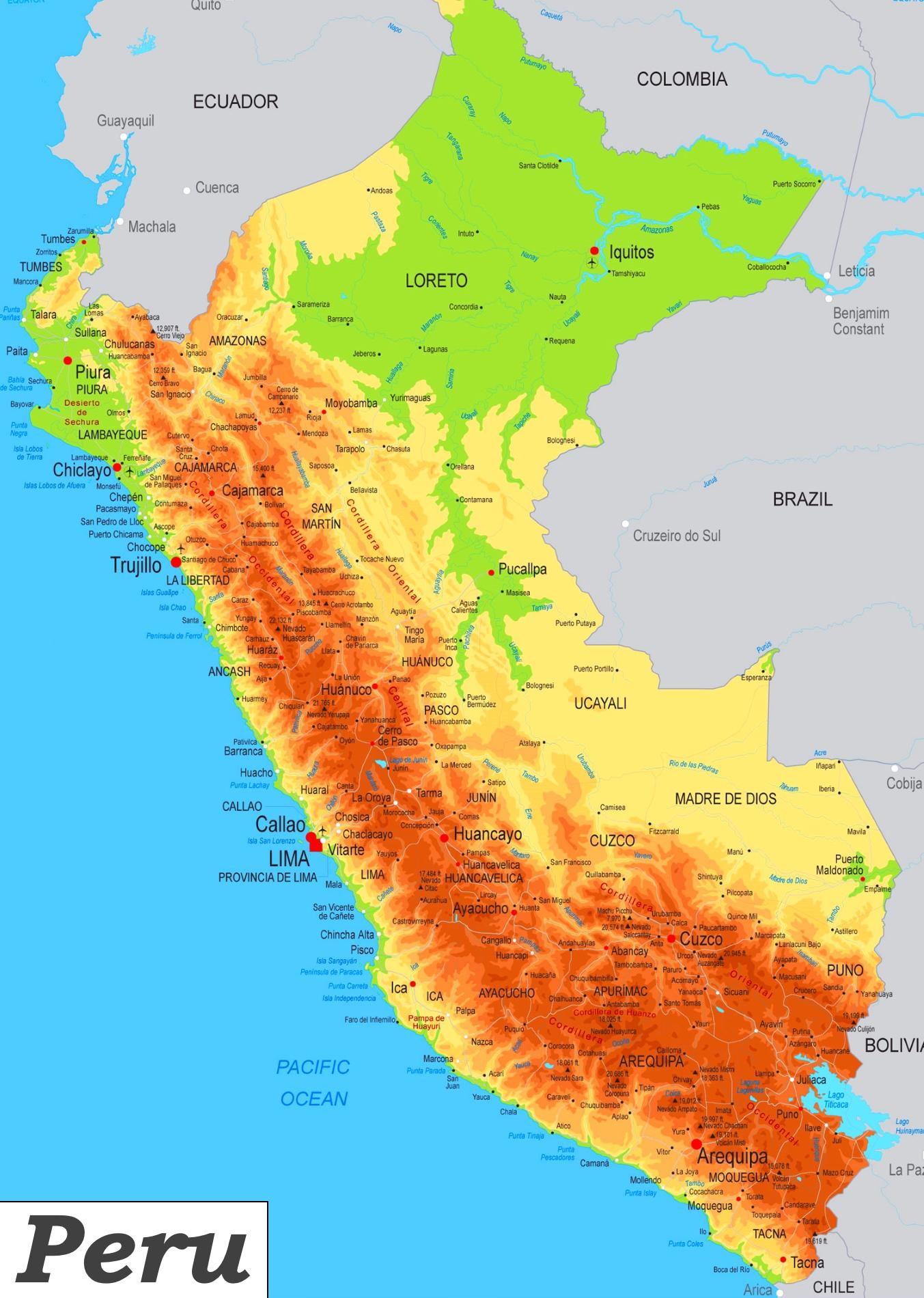 Peru Karte.Physische Landkarte Von Peru