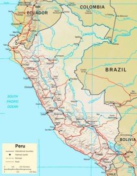 Straßenkarte von Peru