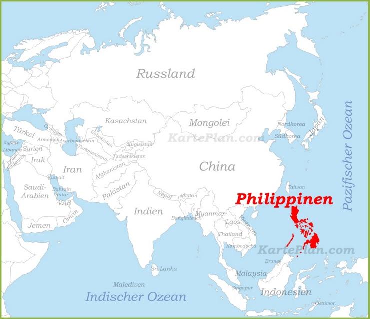 Philippinen auf der karte Asiens