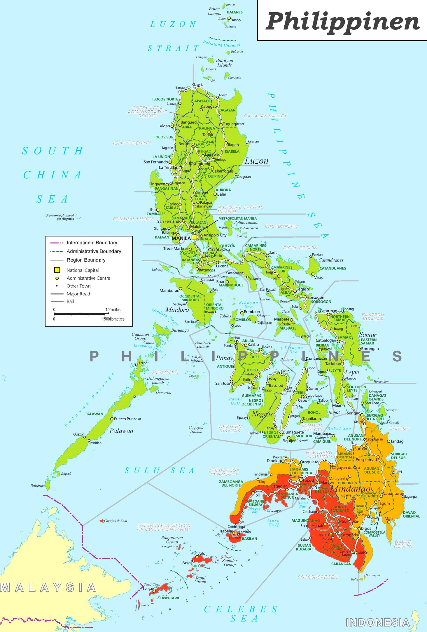 Karte Philippinen.Philippinen Politische Karte