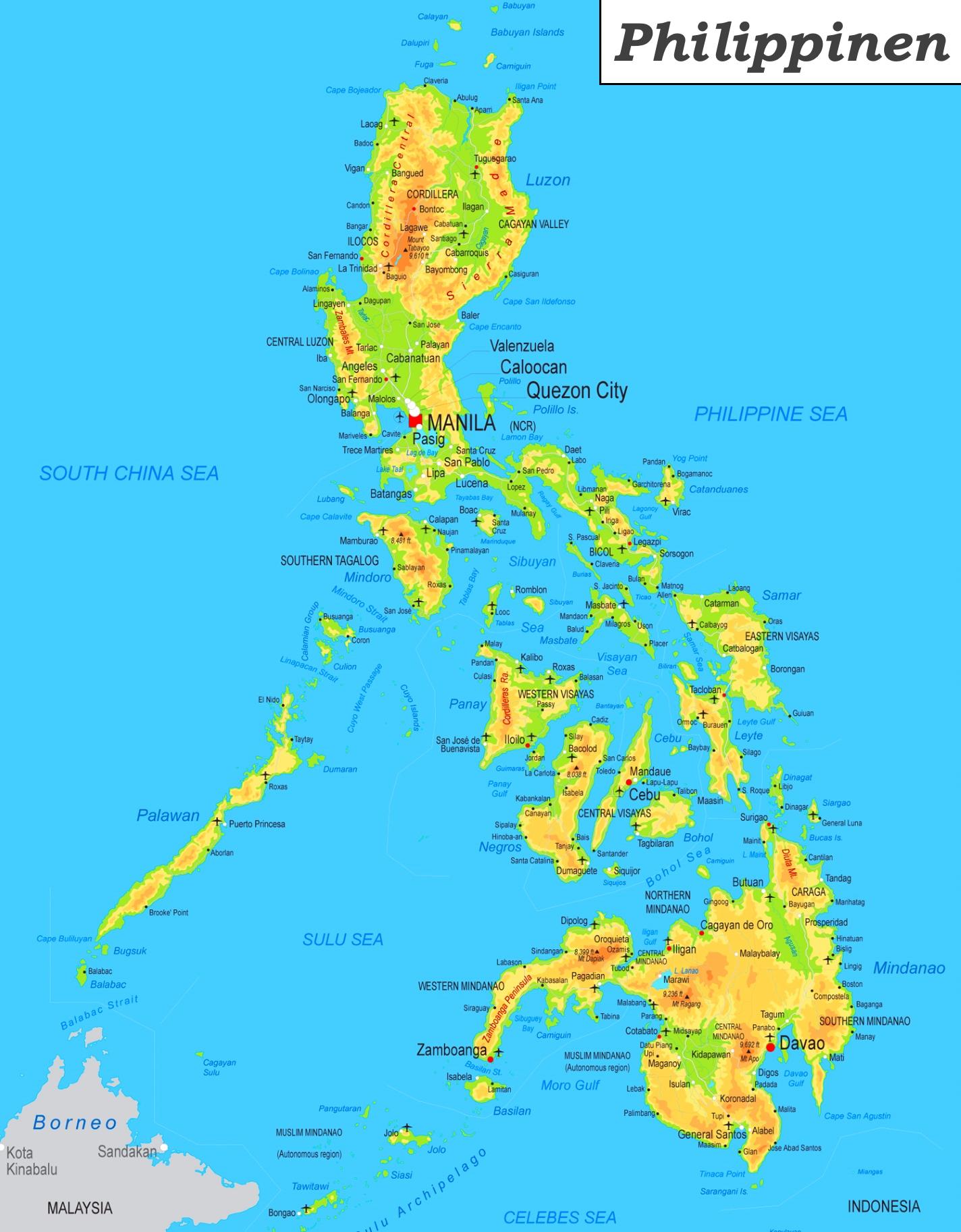 Karte Philippinen.Physische Landkarte Von Philippinen