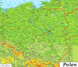 Physische landkarte von Polen
