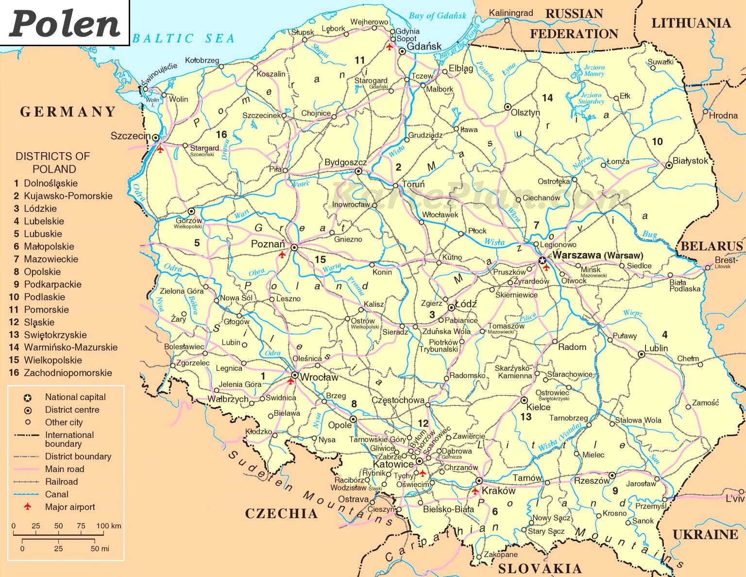 Polen Karte.Polen Politische Karte