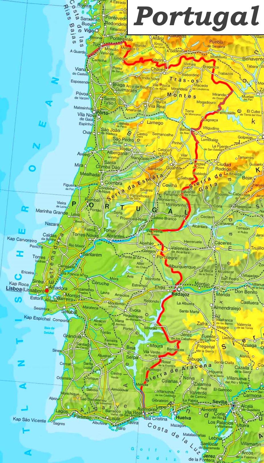 Physische Landkarte Von Portugal