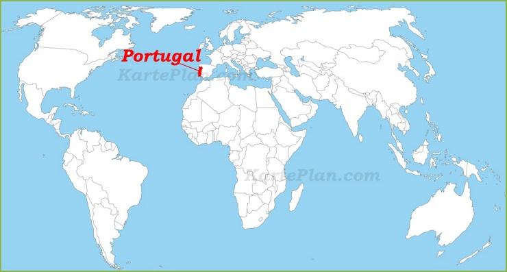 Portugal auf der Weltkarte